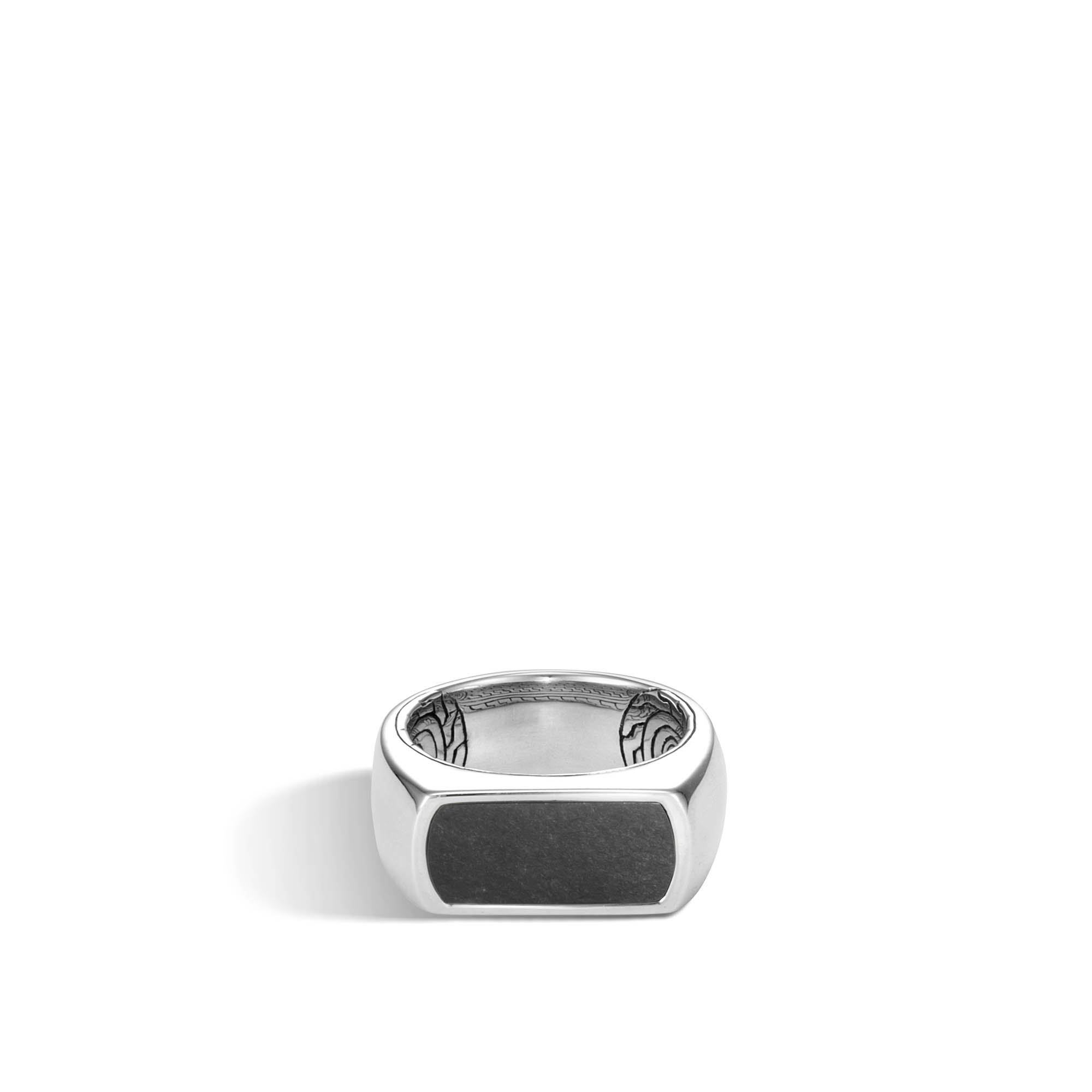 Classic Chain 9.5MM Band Ring in Silver with Gemstone, Black Onyx, large