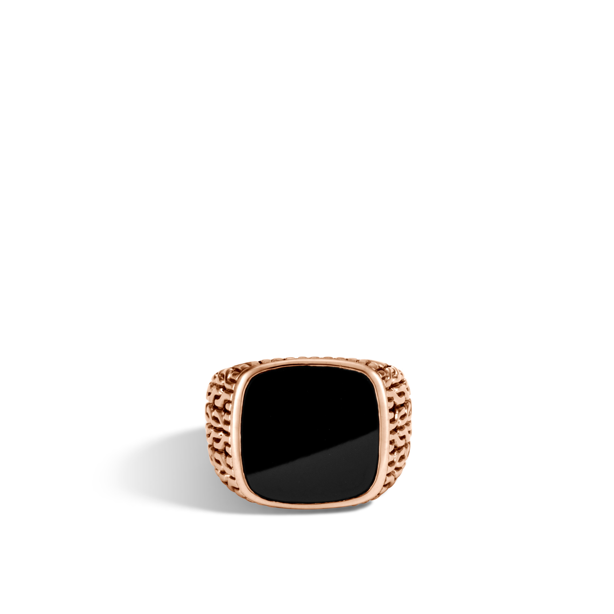 Classic Chain Signet Ring in Bronze with Gemstone, Black Onyx, large