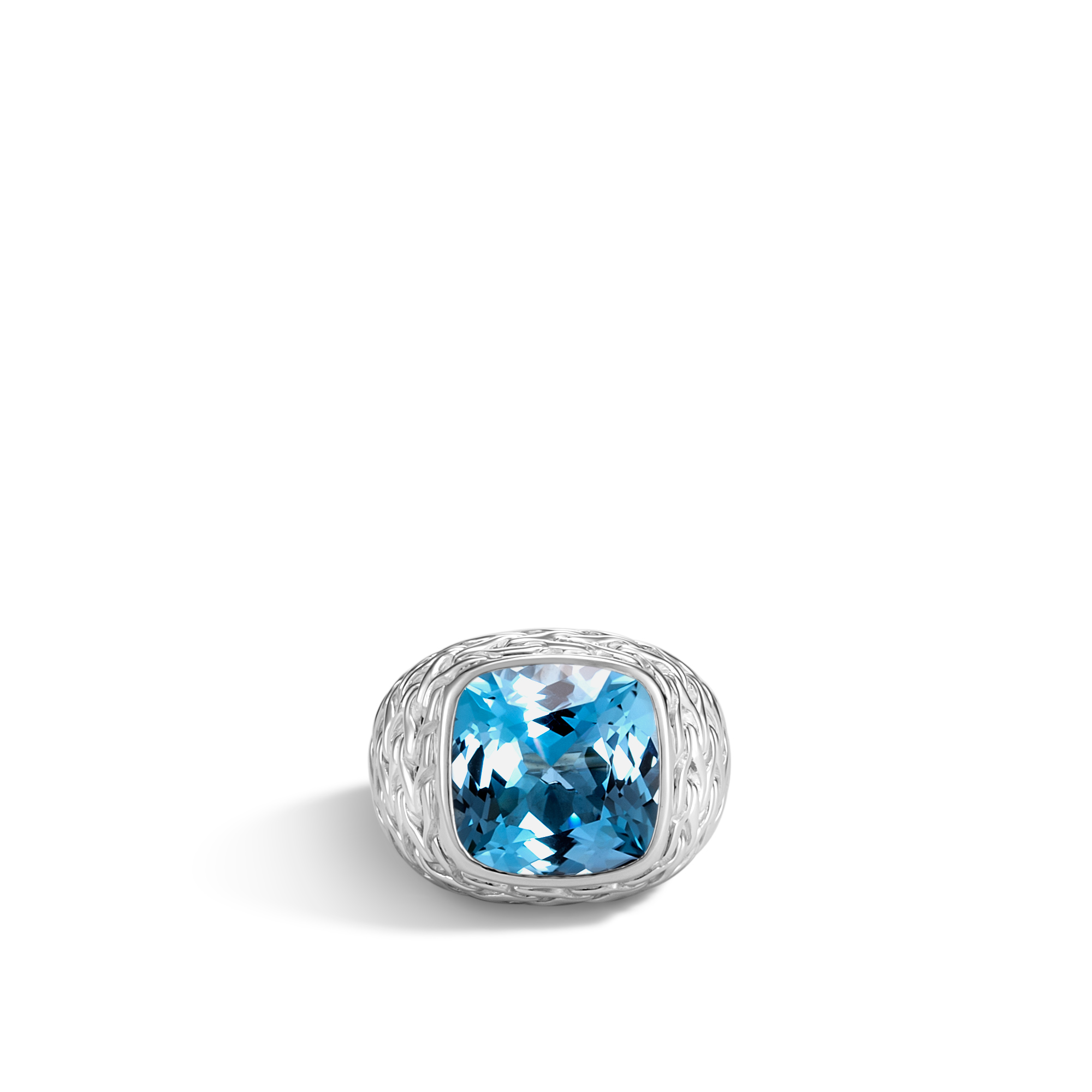 Classic Chain Magic Cut Ring in Silver with 14MM Gemstone, London Blue Topaz, large