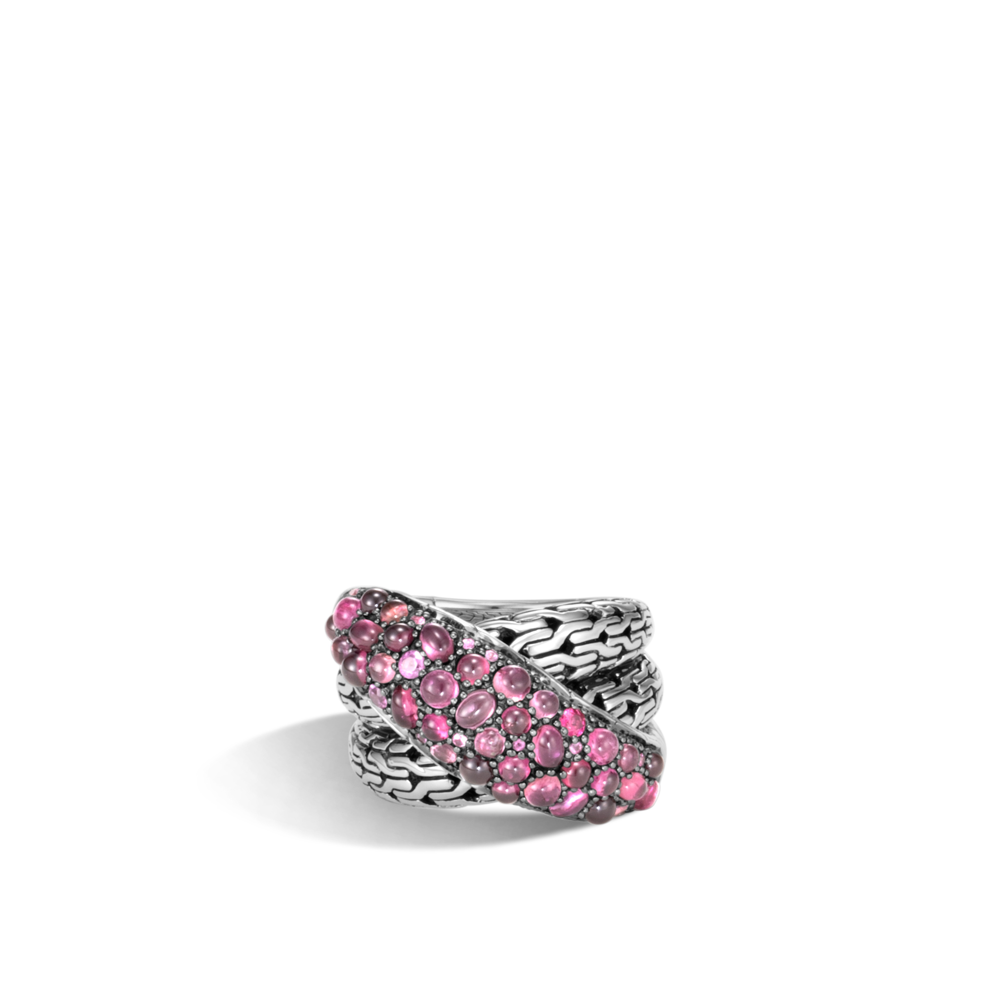 Classic Chain Overlap Ring in Silver with Gemstone, Pink Tourmaline, large