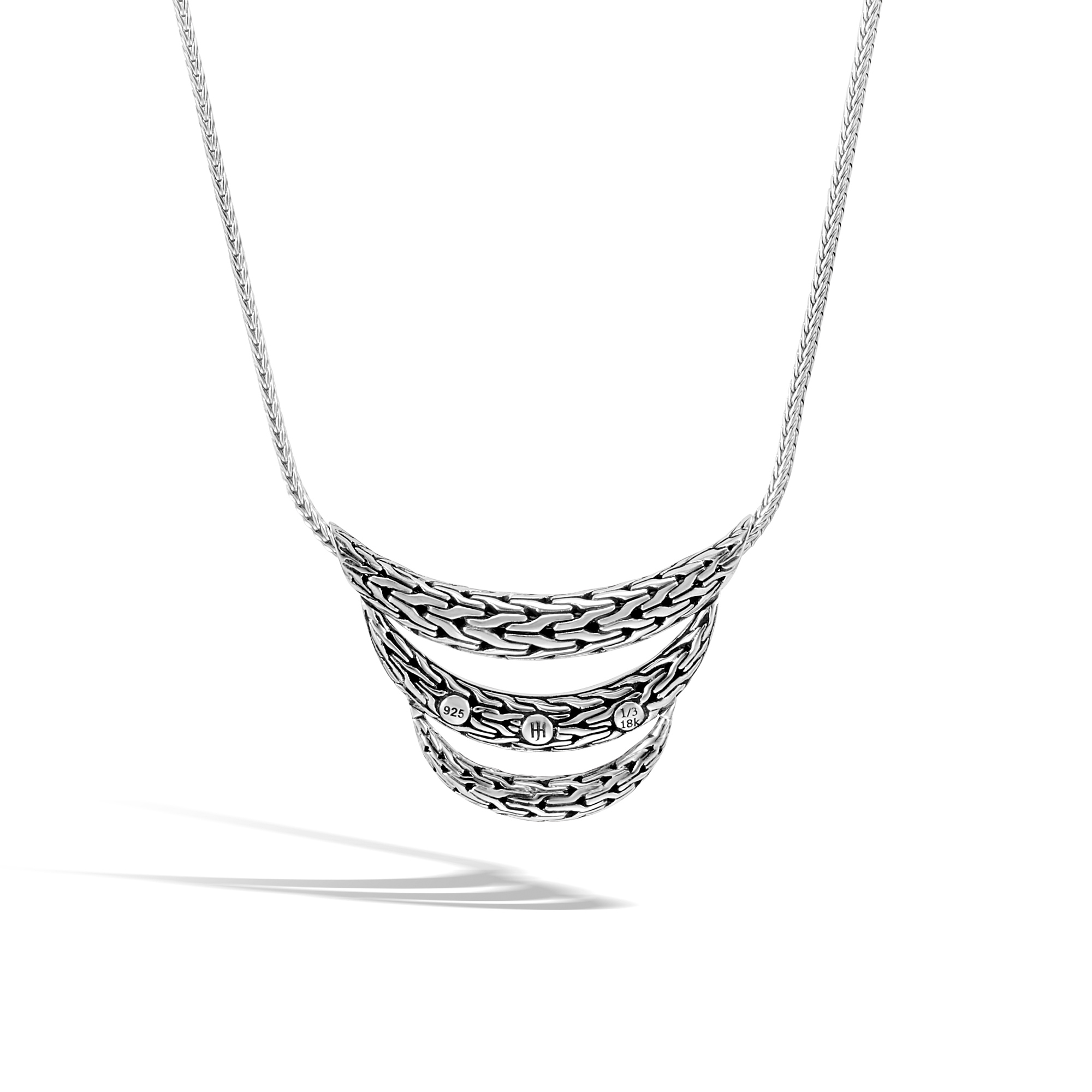 Classic Chain Bib Necklace in Silver and Hammered 18K Gold, , large
