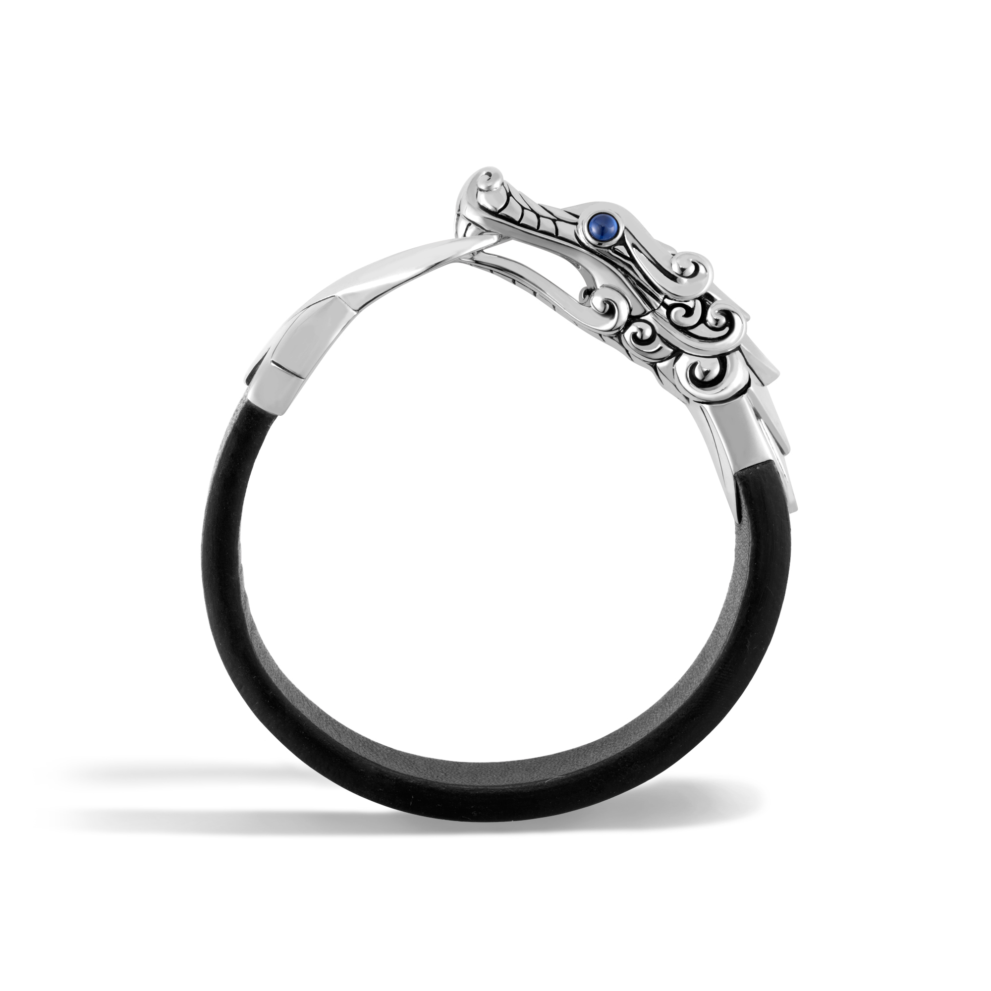 Legends Naga 15MM Bracelet in Silver and Leather, Blue Sapphire, large