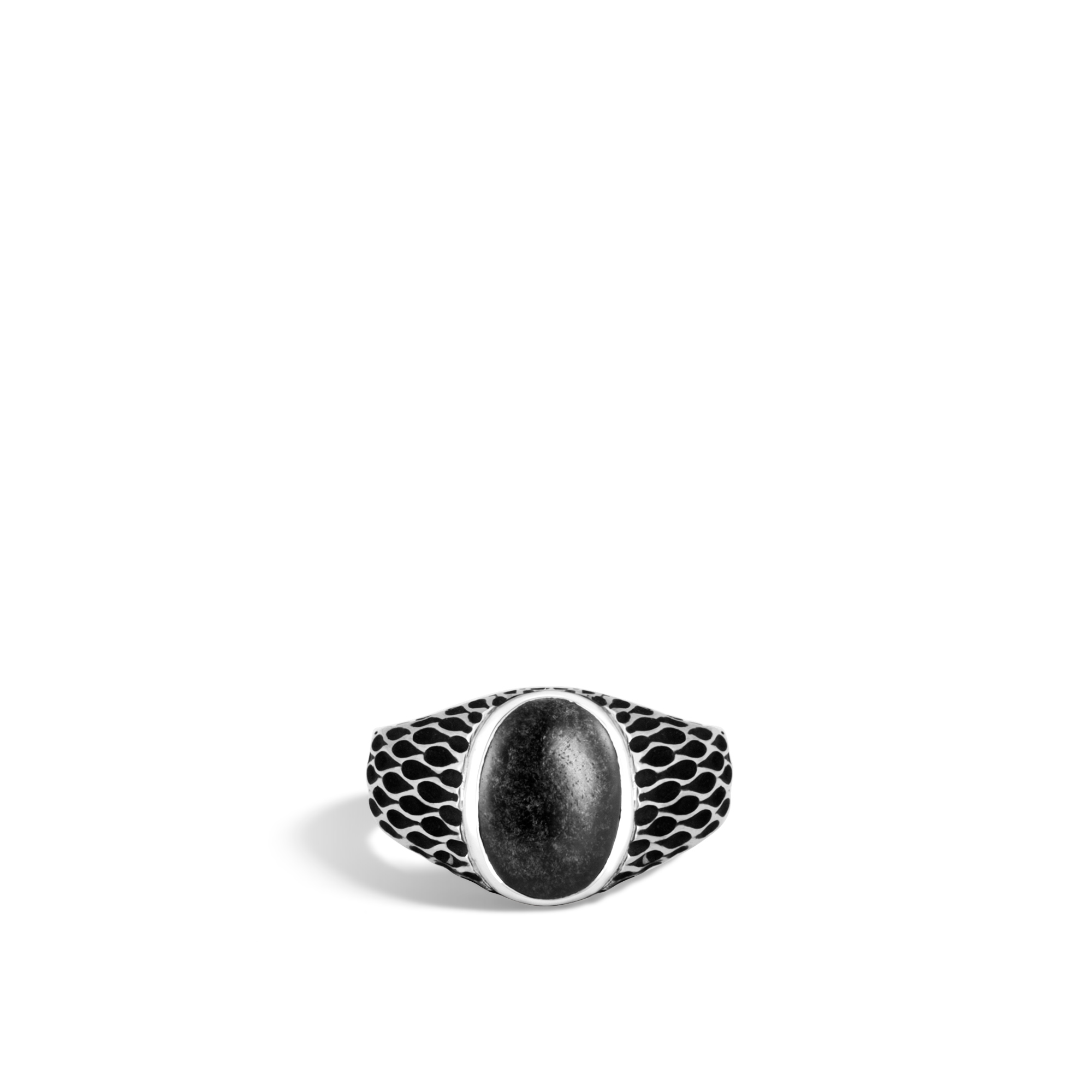 Legends Naga Oval Signet Ring in Silver with Gemstone, Silver Sheen Obsidian, large