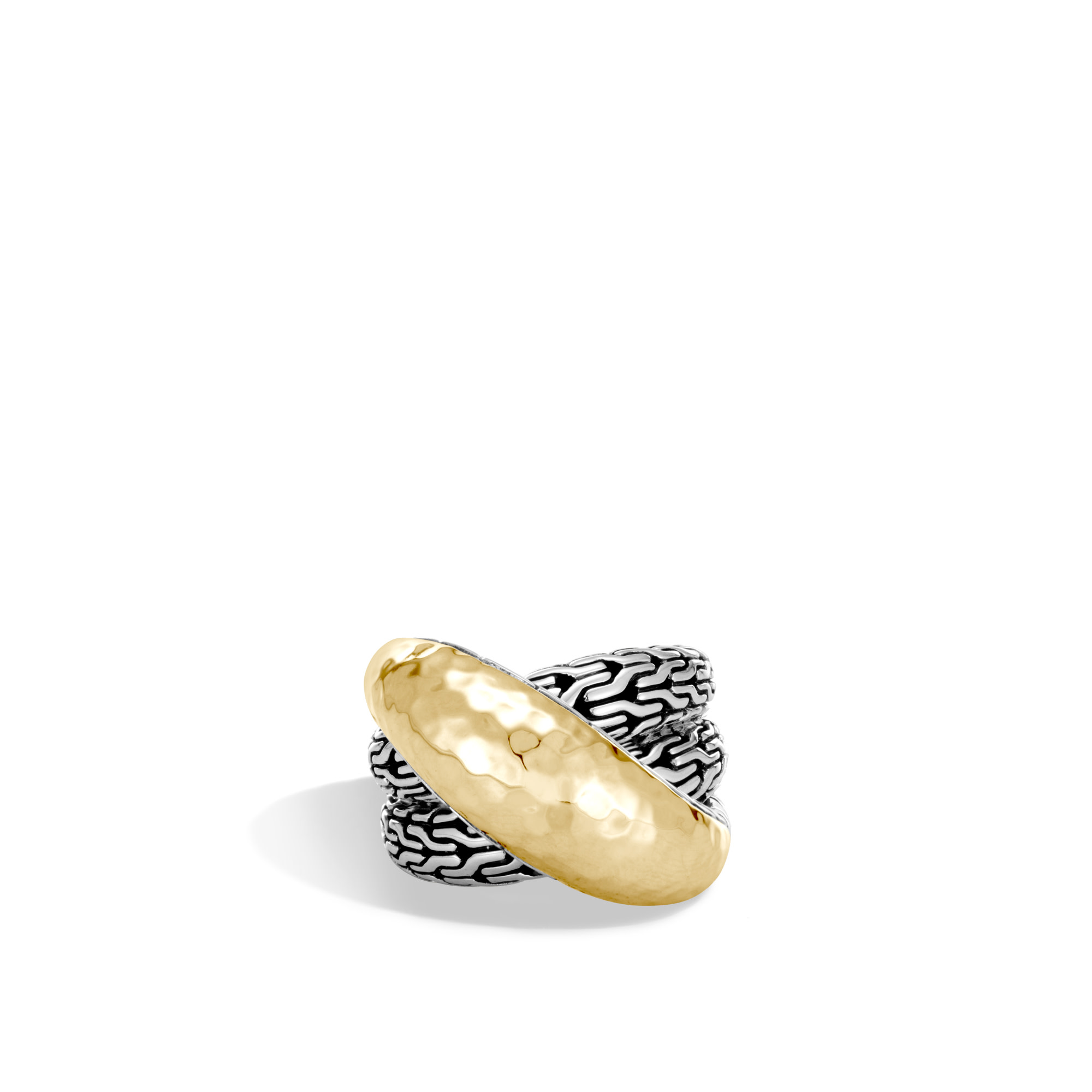 Classic Chain Overlap Ring in Silver and Hammered 18K Gold, , large