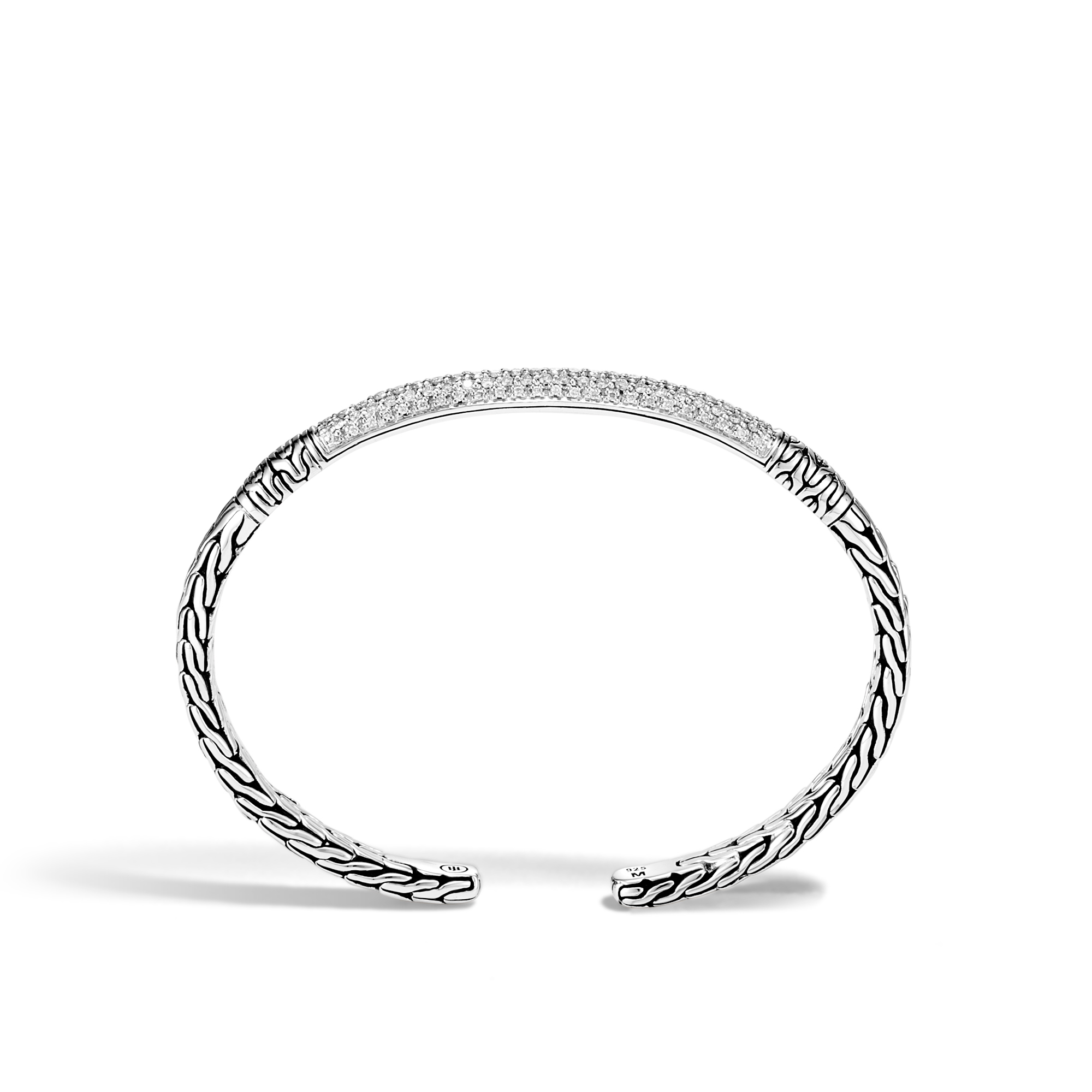 Classic Chain Cuff in Silver with Diamond, White Diamond, large
