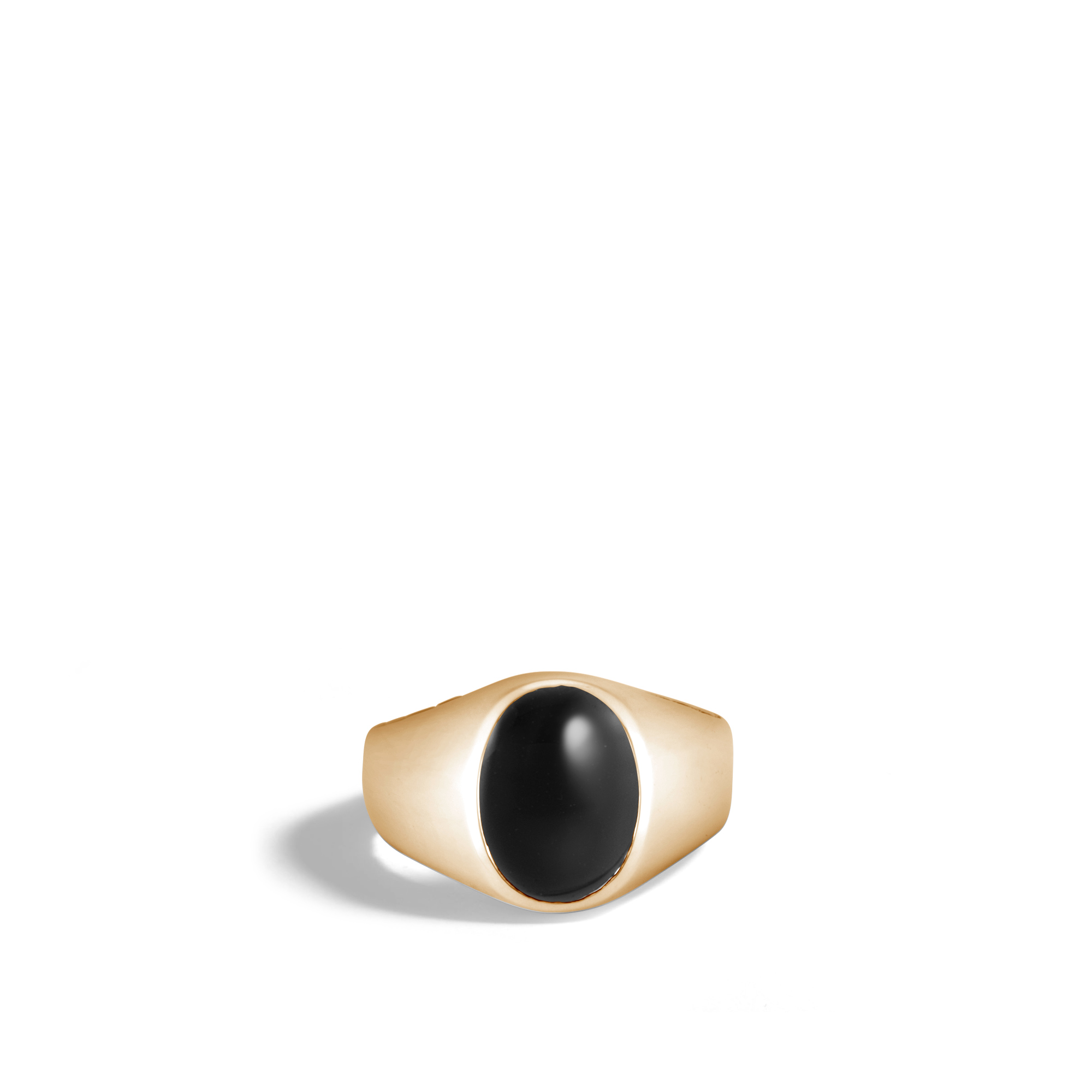 Classic Chain Oval Signet Ring in 18K Gold with Gemstone, Black Onyx, large