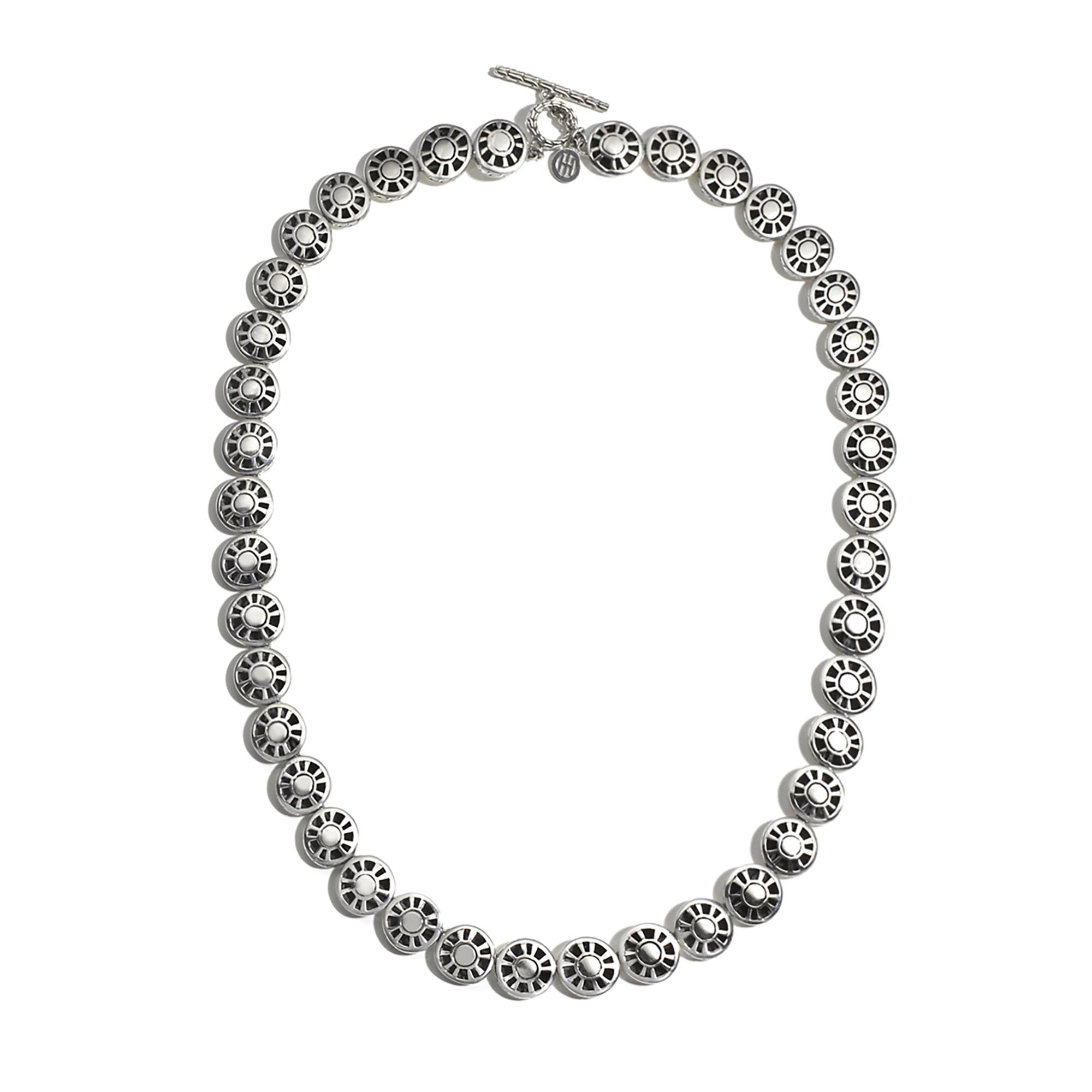 Dot 9mm Link Necklace in Hammered Silver, , large