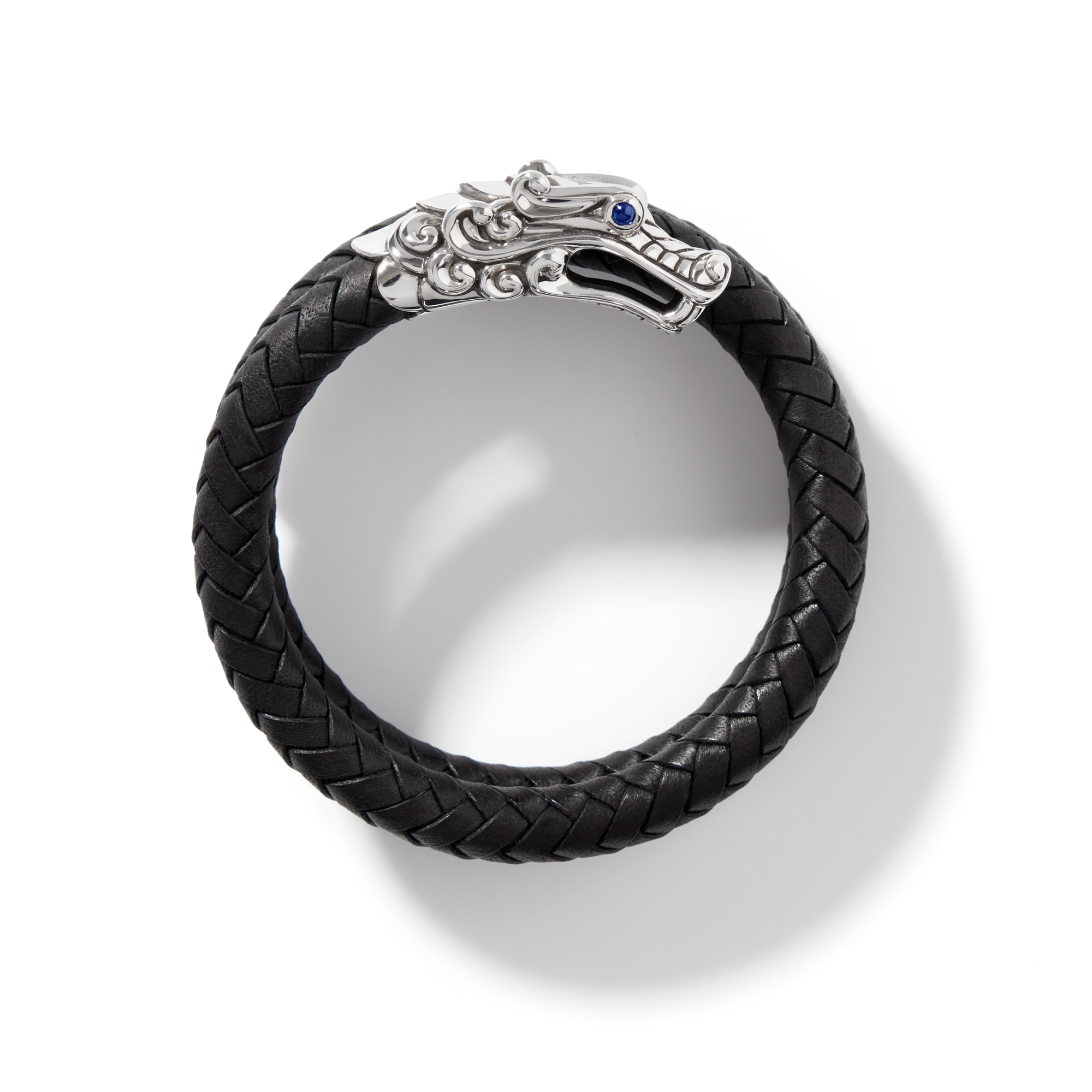 Legends Naga Double Coil Bracelet in Silver with Leather, , large