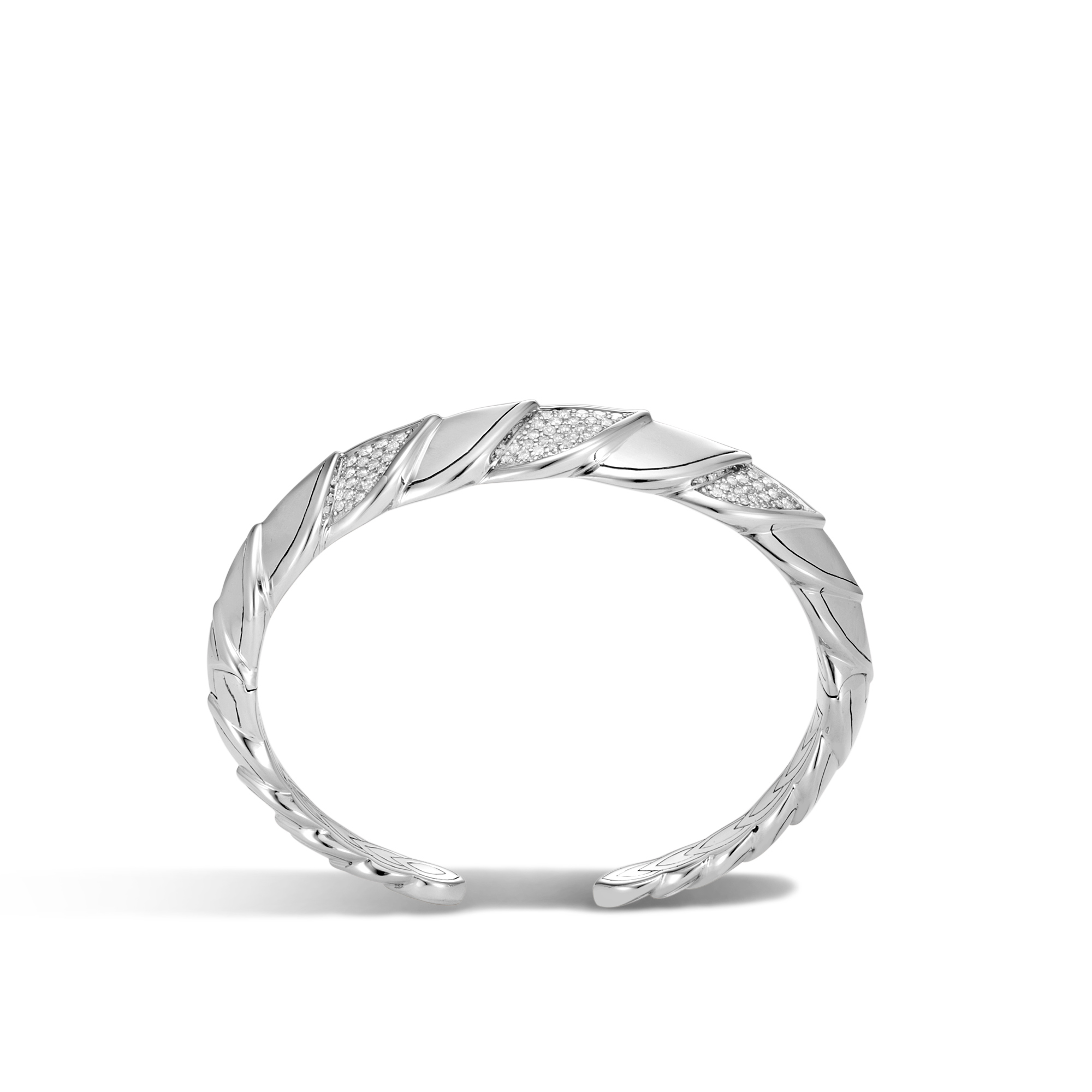 Legends Naga 18.5MM Cuff in Silver with Diamonds, White Diamond, large