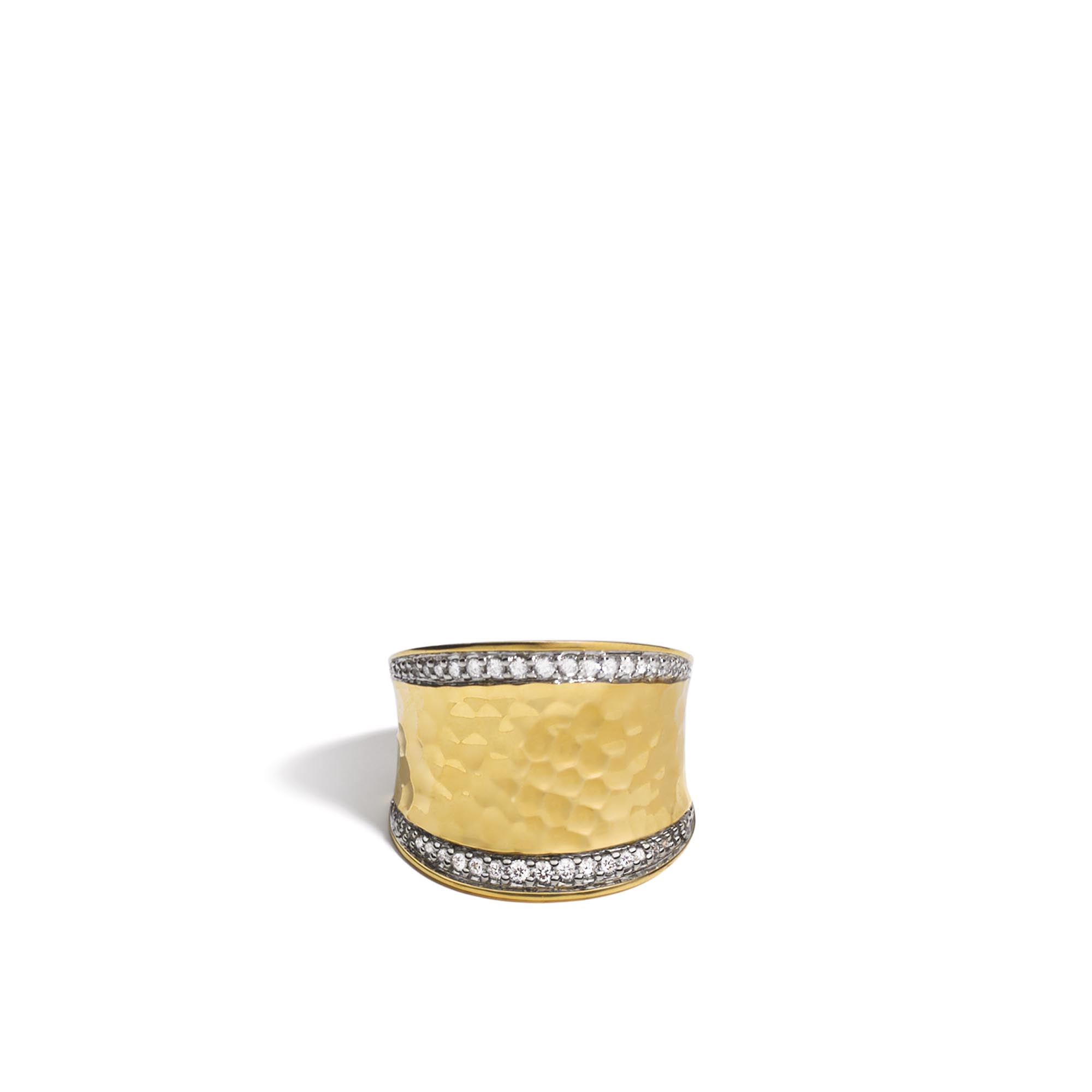 Classic Chain Saddle Ring in Hammered 18K Gold with Diamonds, White Diamond, large