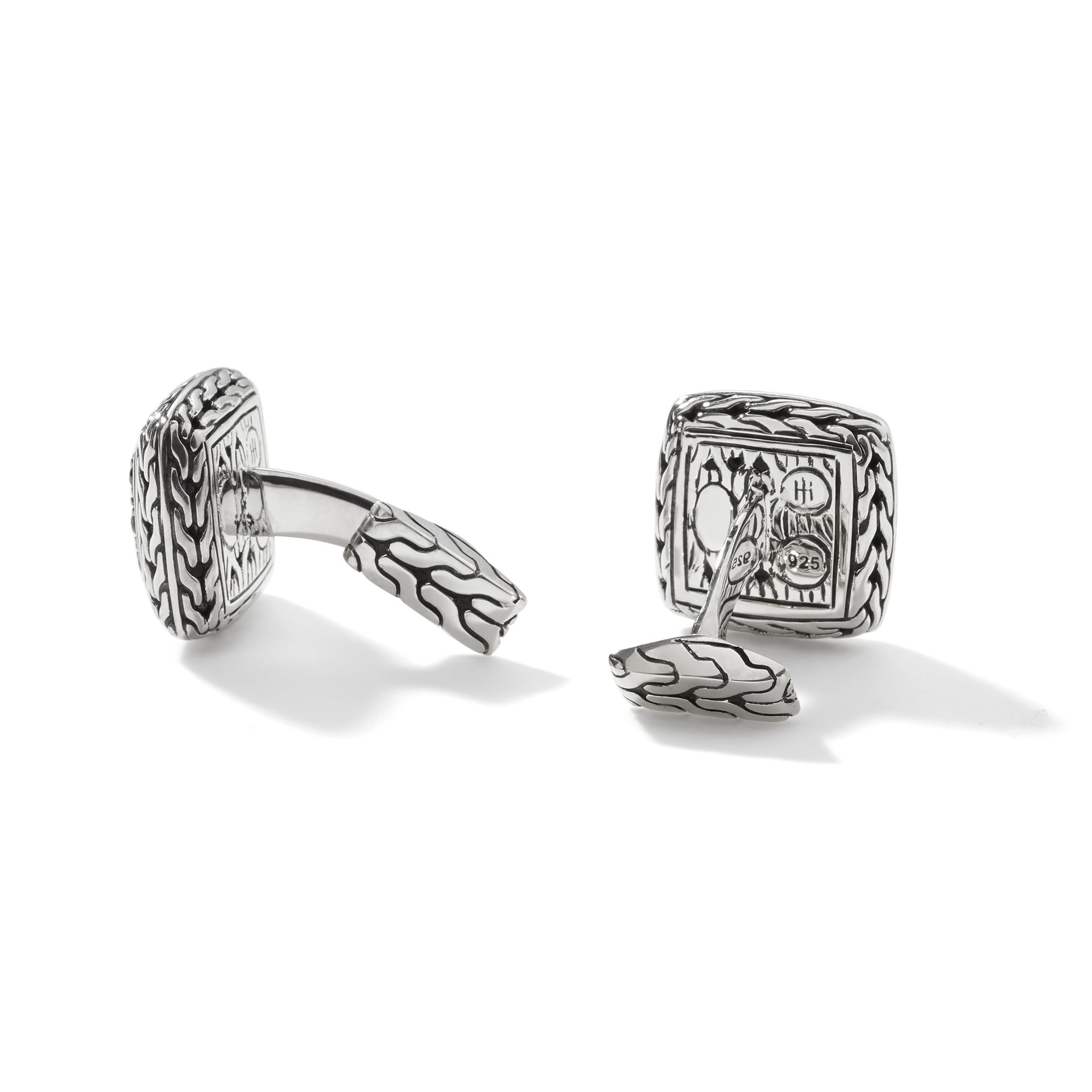 Classic Chain Cufflinks in Silver with Gemstone, Black Sapphire, large