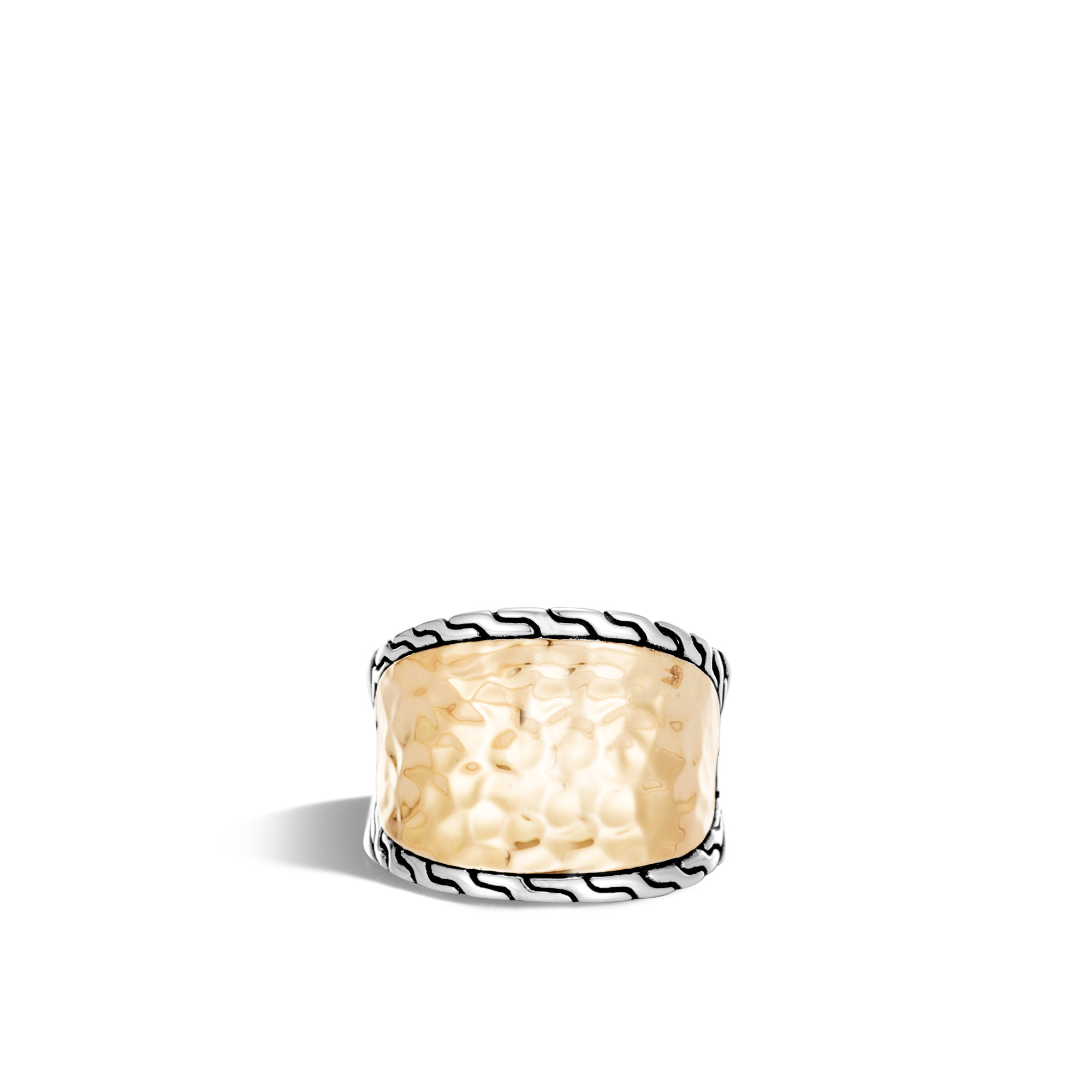 Classic Chain Saddle Ring in Silver and Hammered 18K Gold, , large