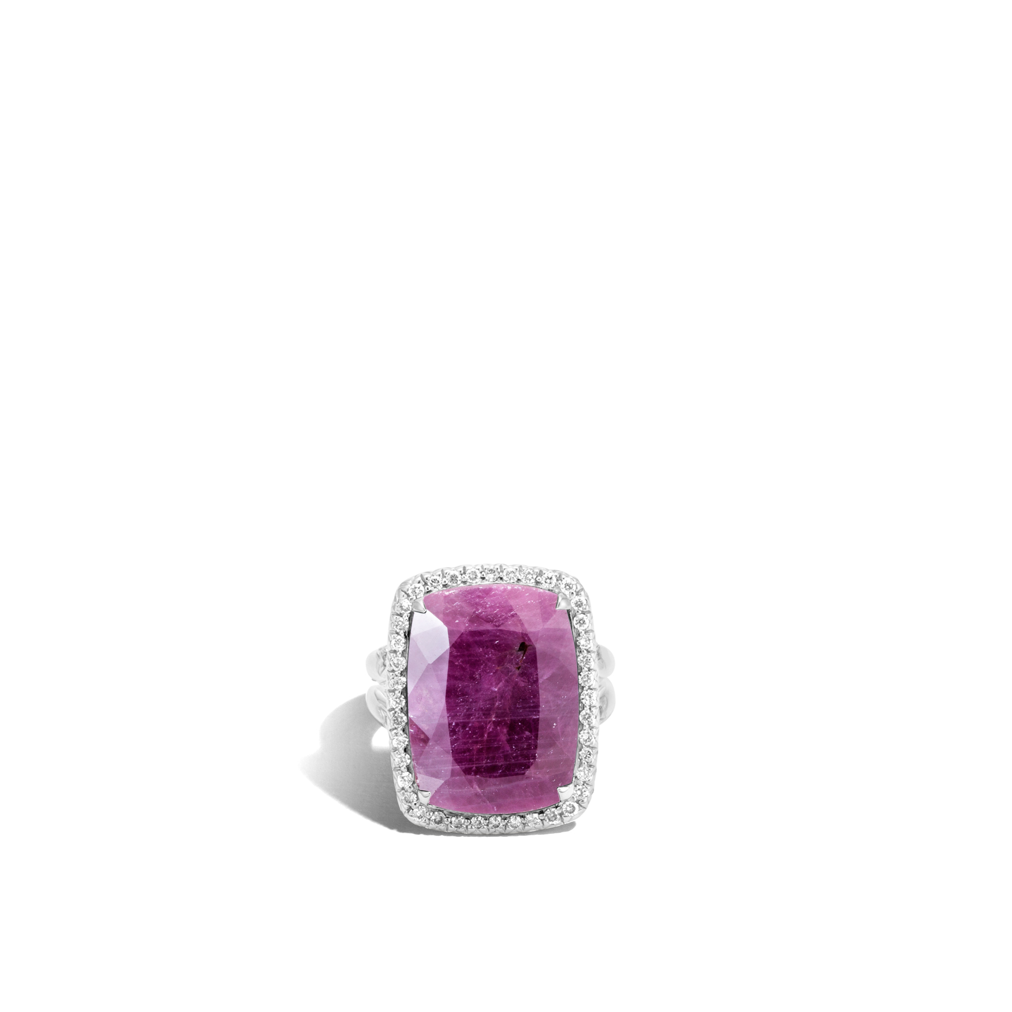 Classic Chain Magic Cut Ring, Silver, 20x15MM Gems, Diamonds, Indian Ruby, large