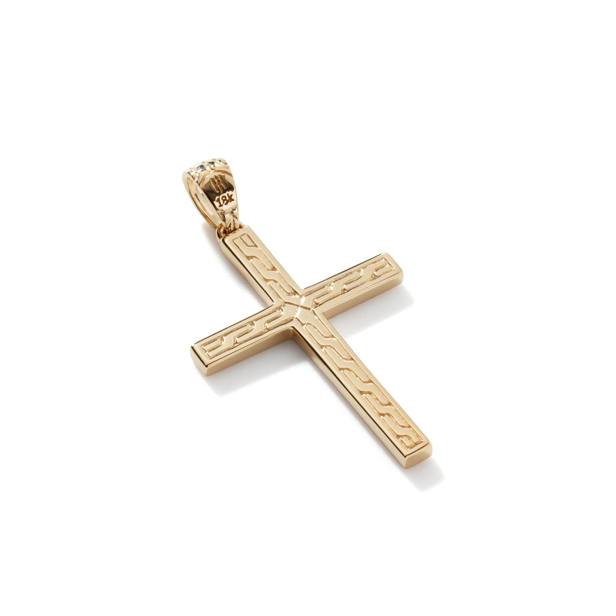Chain Jawan Cross Pendant in 18K Gold, , large