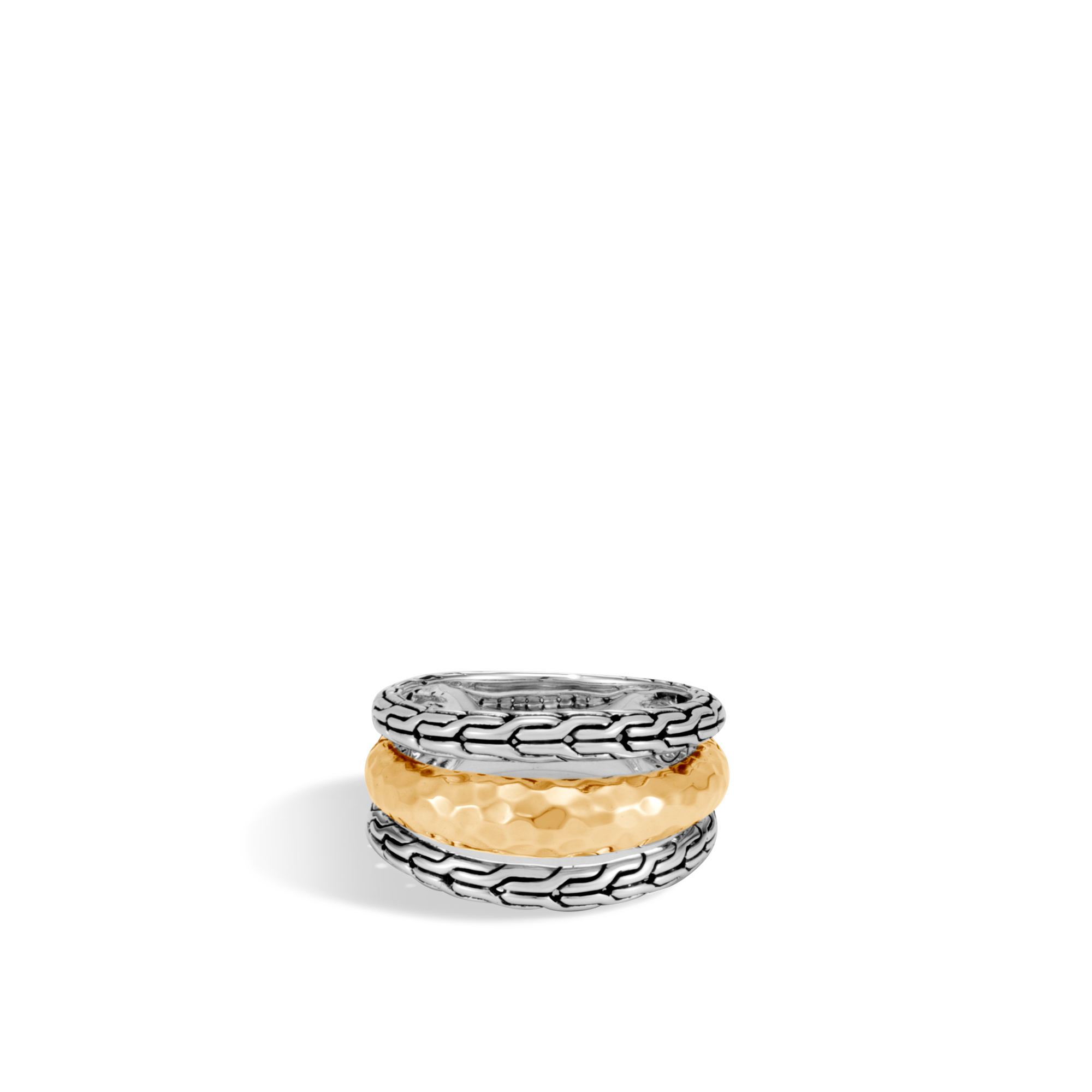 Classic Chain Ring in Silver and Hammered 18K Gold, , large
