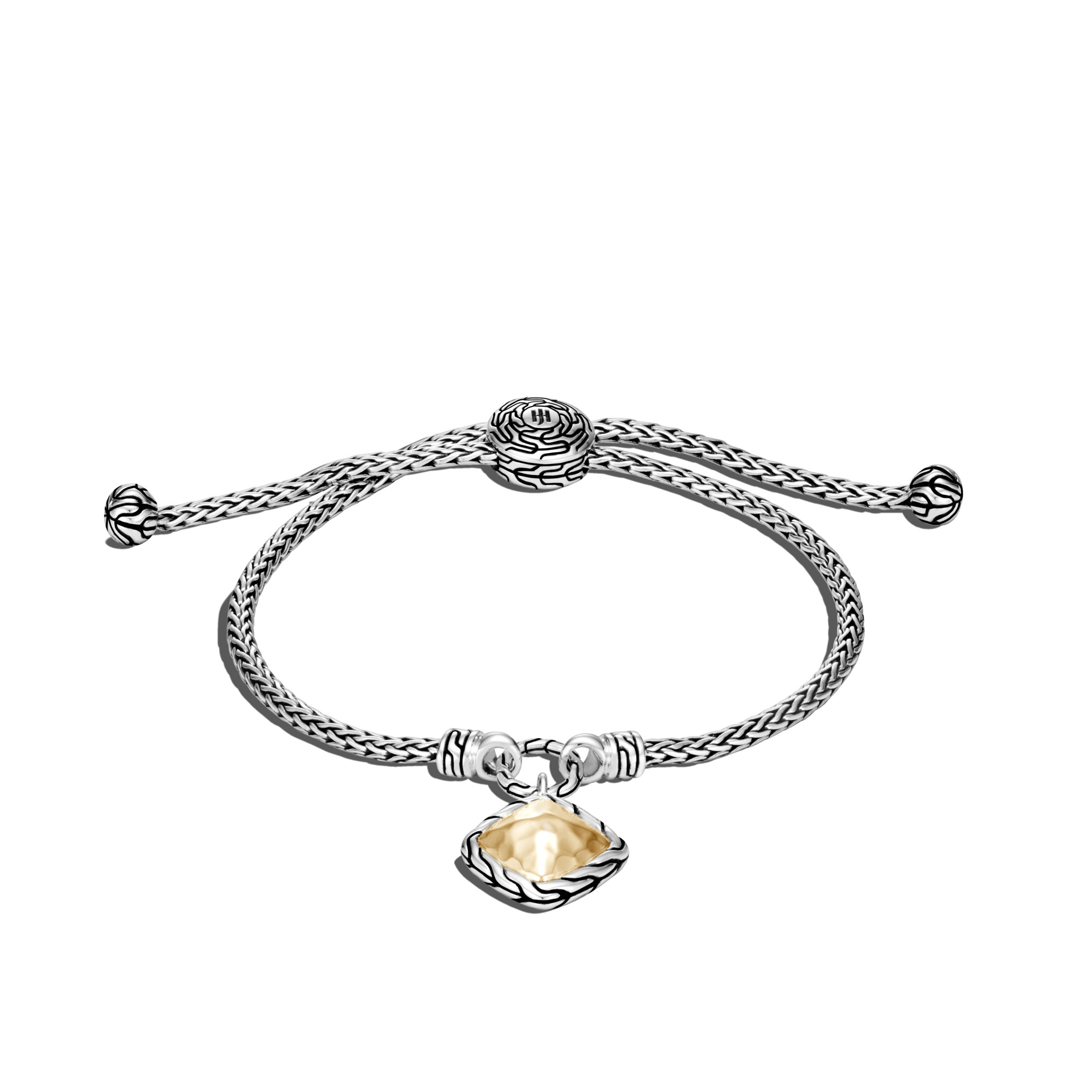 John Hardy CLASSIC CHAIN PULL THROUGH BRACELET, STERLING SILVER, HAMMERED 18K GOLD