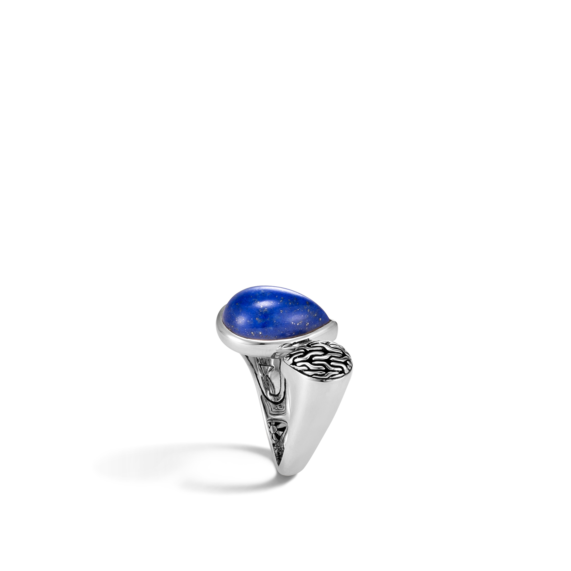 Classic Chain Bypass Ring in Silver with Gemstone, Lapis Lazuli, large