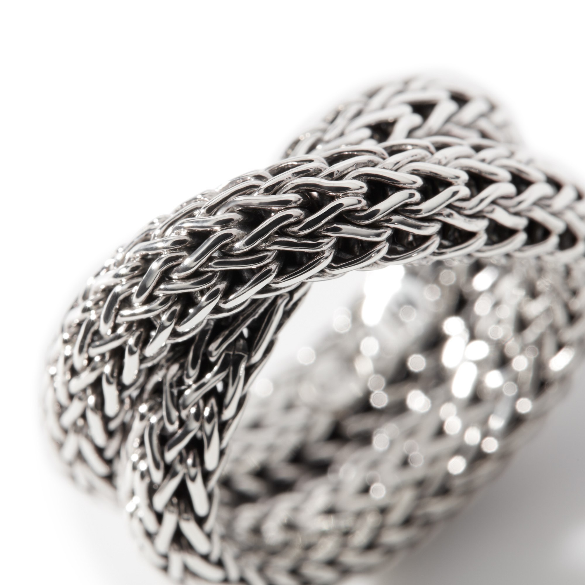Classic Chain Overlap Ring in Silver, , large