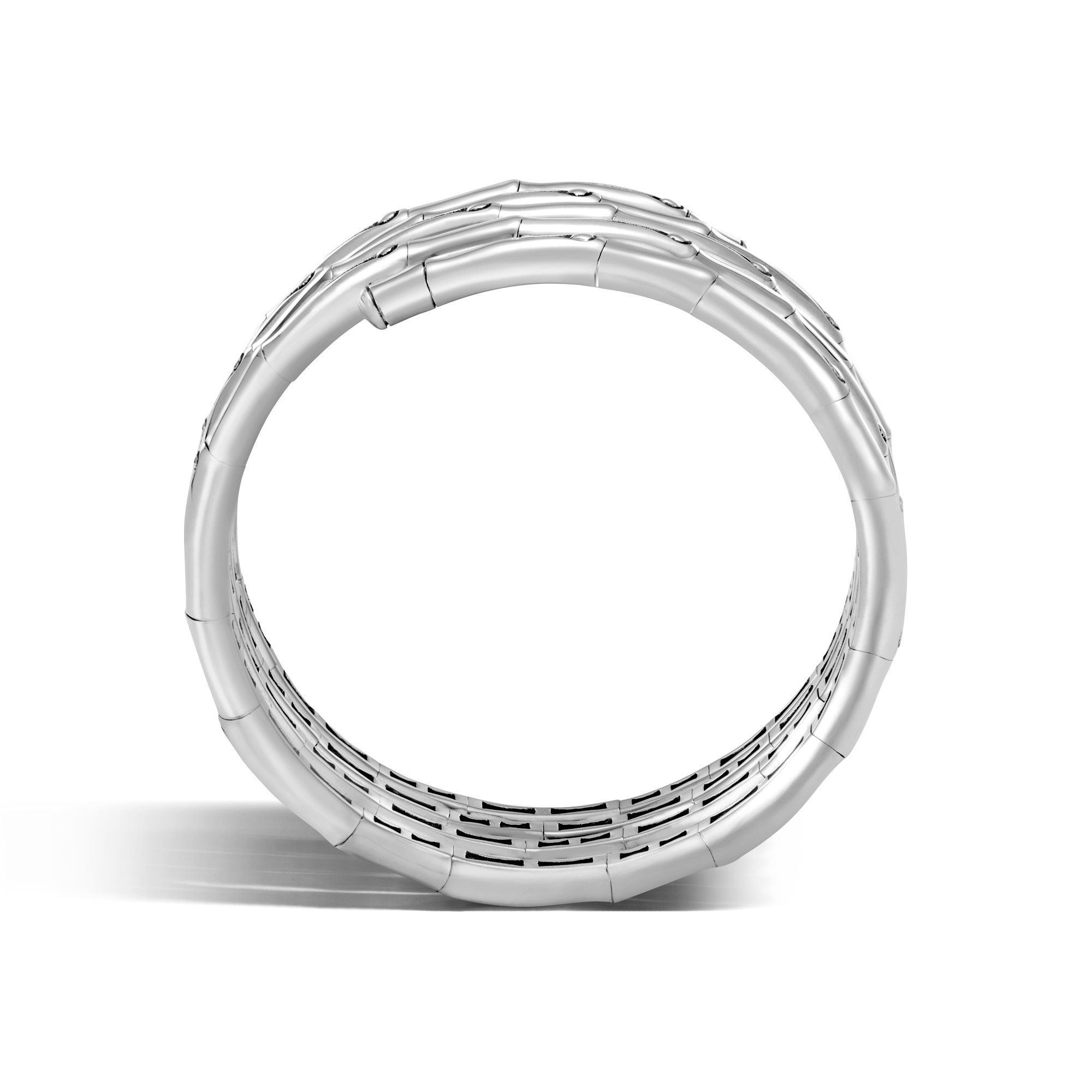 Bamboo Double Coil Bracelet in Brushed Silver, , large