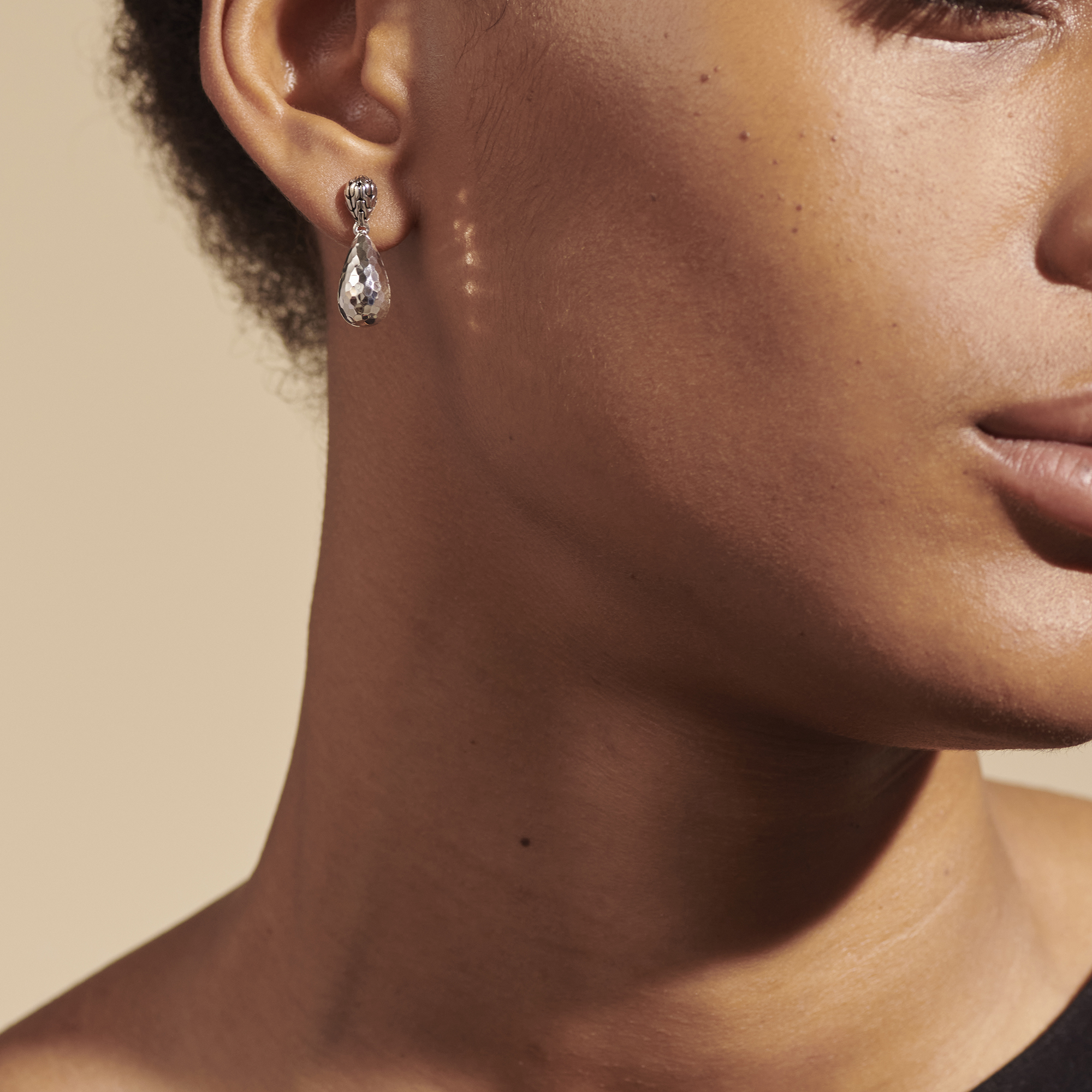 Classic Chain Hammered Silver Drop Earrings, , modelview