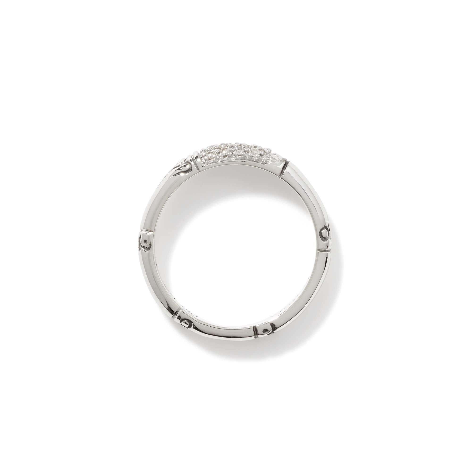 Bamboo 3.5MM Band Ring in Silver with Diamonds, White Diamond, large