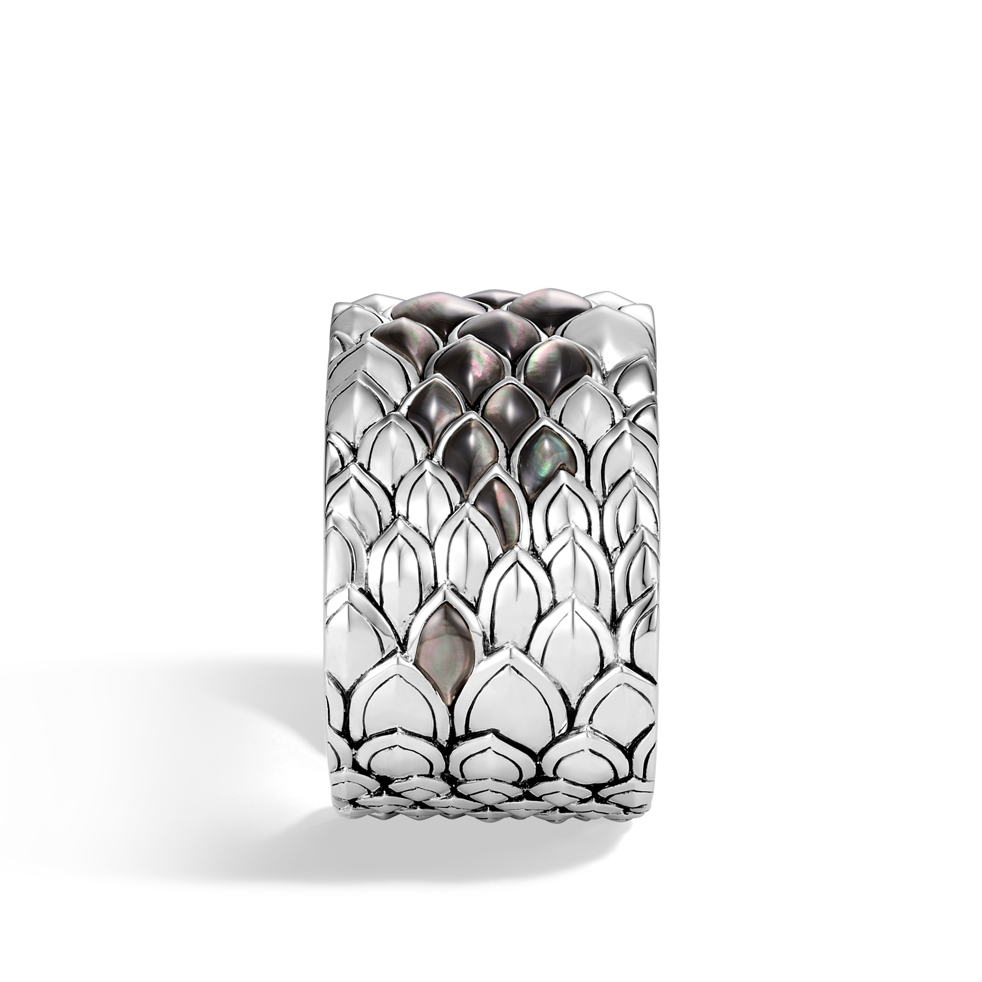 Legends Naga 40MM Kick Cuff in Silver with Gemstone, Grey Mother of Pearl, large