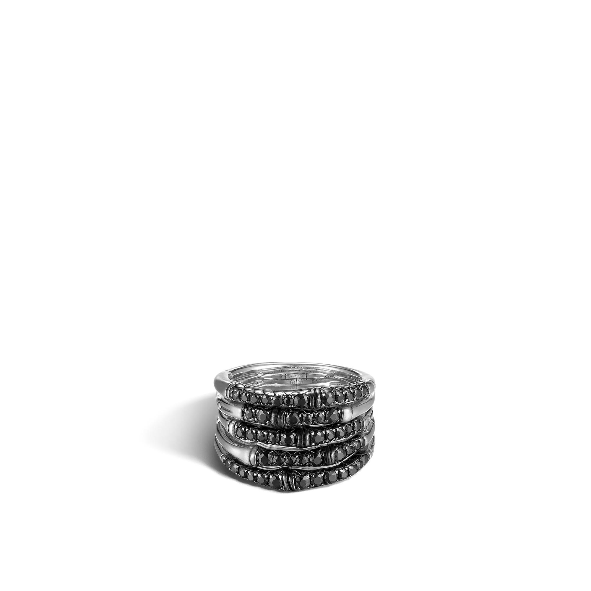 Bamboo Ring in Silver with Gemstone, Black Sapphire, large