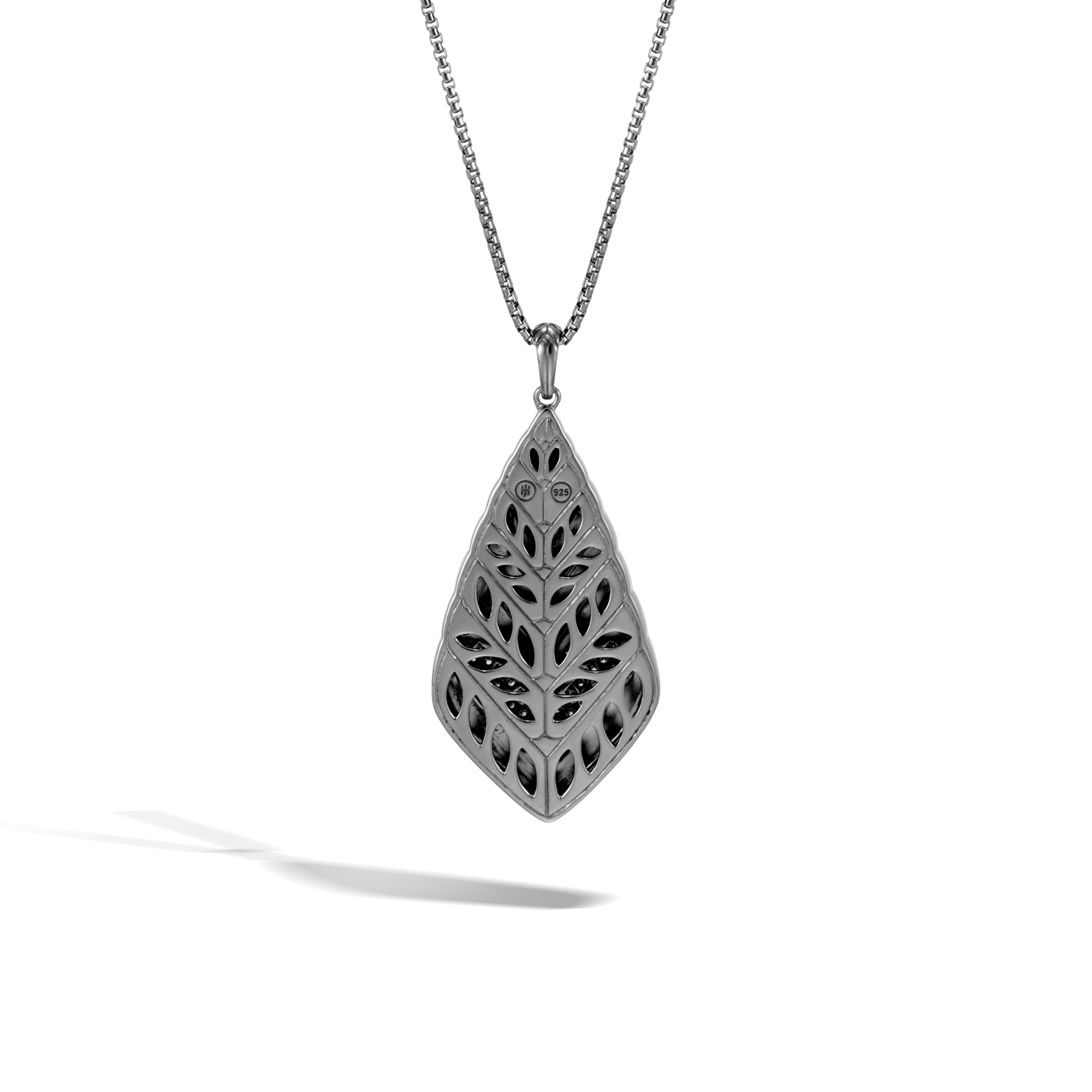 Modern Chain Pendant Necklace in Blackened Silver, Diamonds, White Diamond, large