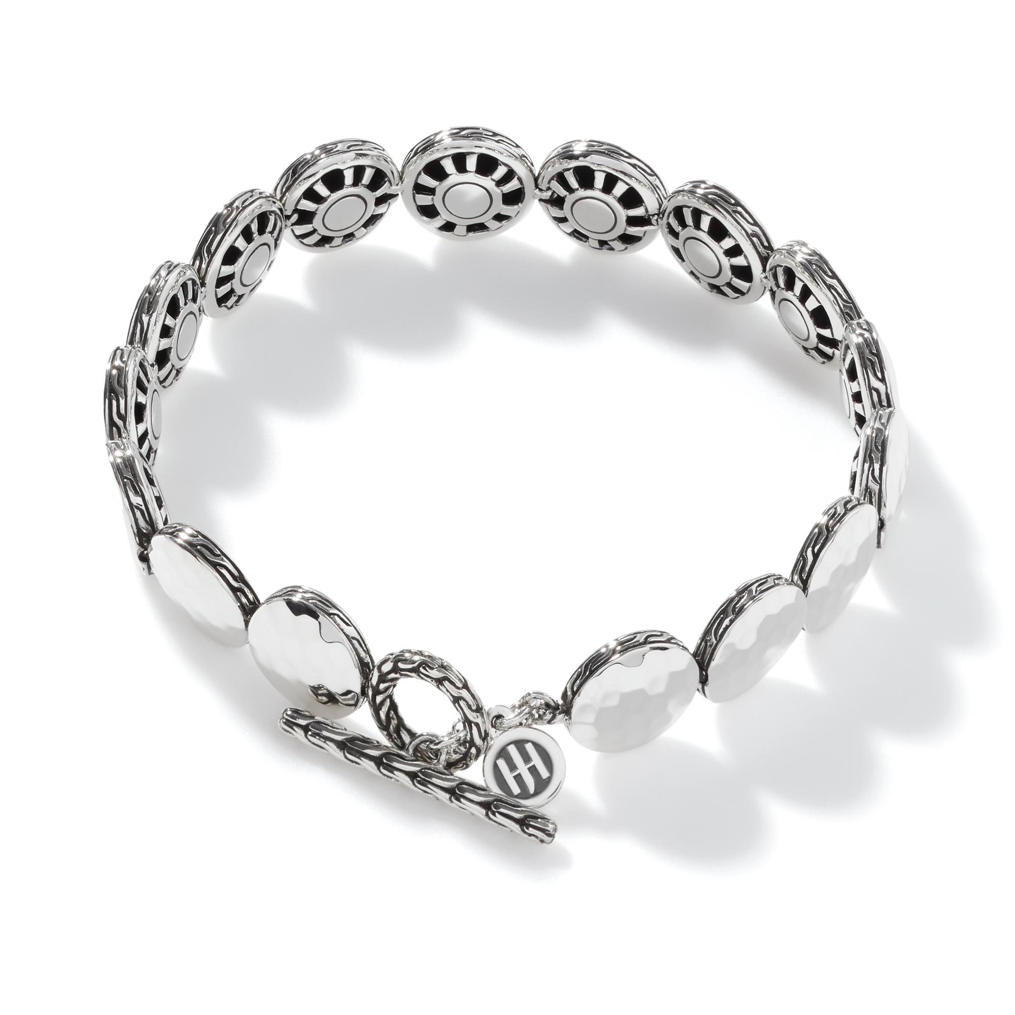 Dot 10.5MM Link Bracelet in Hammered Silver, , large