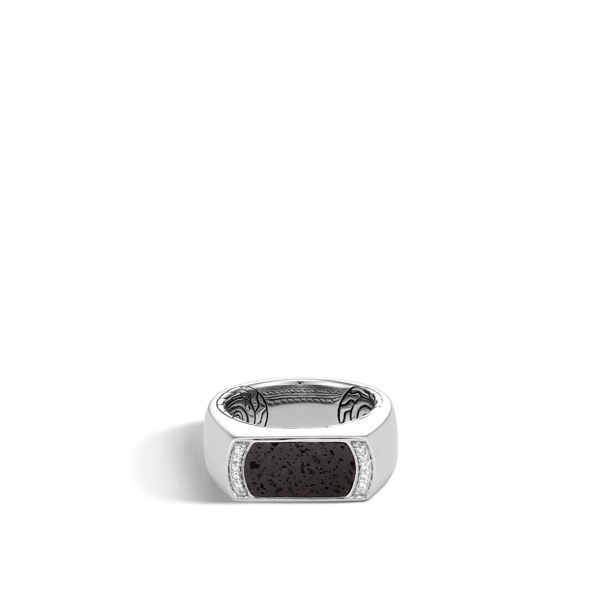 Classic Chain 9MM Band Ring in Silver, Gemstone, Diamonds, Black Volcanic, large