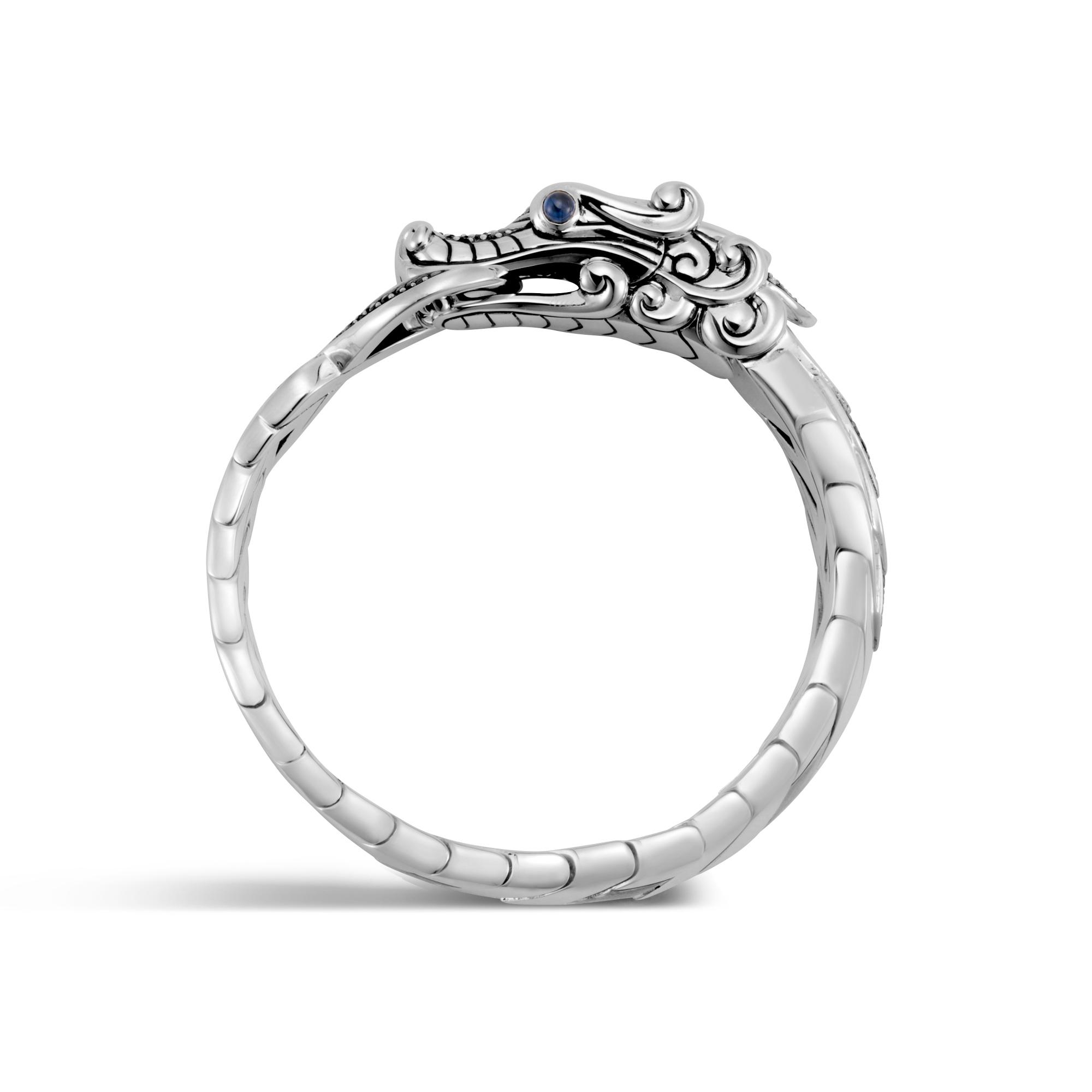 Legends Naga Bracelet in Brushed Silver with Gemstone, Black Spinel, large